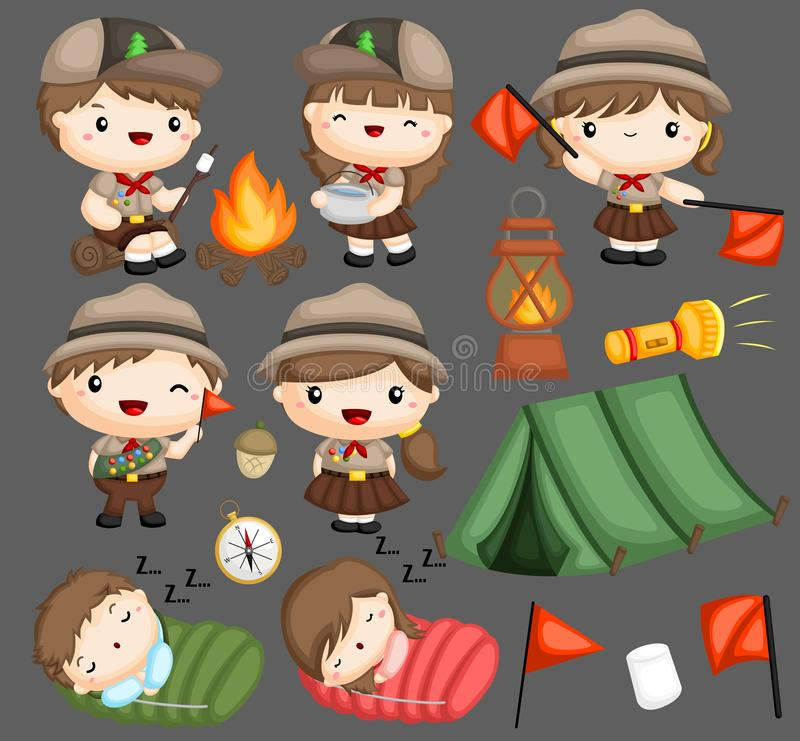 Scouts Camping stock illustration