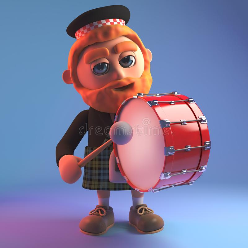 Scozzese del fumetto in kilt del tartan che gioca un tamburo in marcia, illustrazione 3d royalty illustrazione gratis