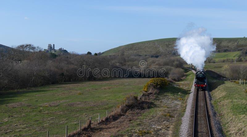Scozzese e treno volanti al castello di Corfe immagini stock