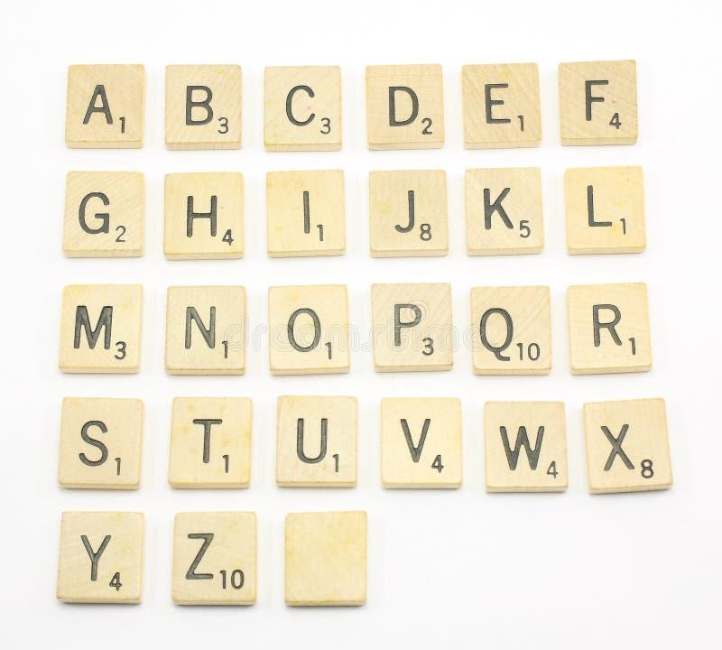 Scrabble-Alphabet lizenzfreies stockfoto