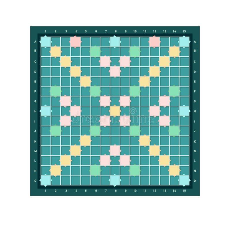 Scrabble eller lärd fyrkantig brädedesign med raster av tomma färgrika celler Populär intellektuell tabletopordlek för vektor illustrationer