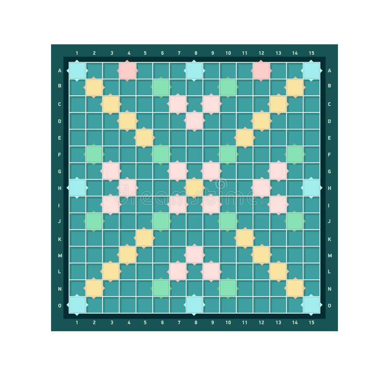 Scrabble or erudite square board design with grid of blank colorful cells. Popular intellectual tabletop word game for. Improving vocabulary, verbal or mental vector illustration