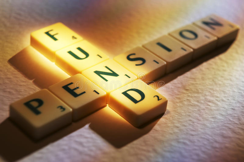 Scrabble Letters Spelling Pension Fund Royalty Free Stock Photo