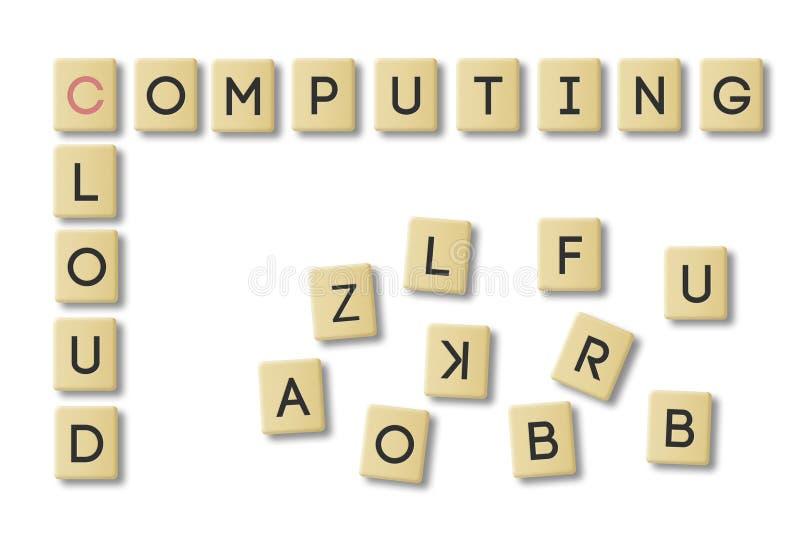 Scrabble molnberäkning vektor illustrationer