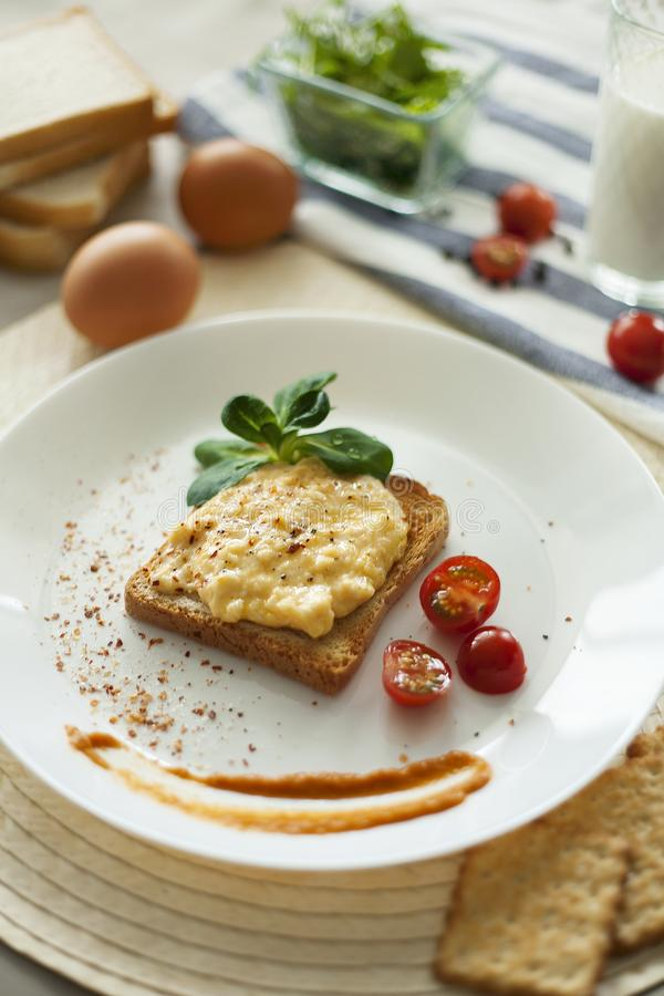 Scramble on wheat bread toast royalty free stock photo