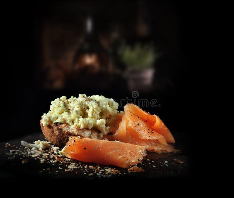 Scrambled Egg with Smoked Salmon stock photo