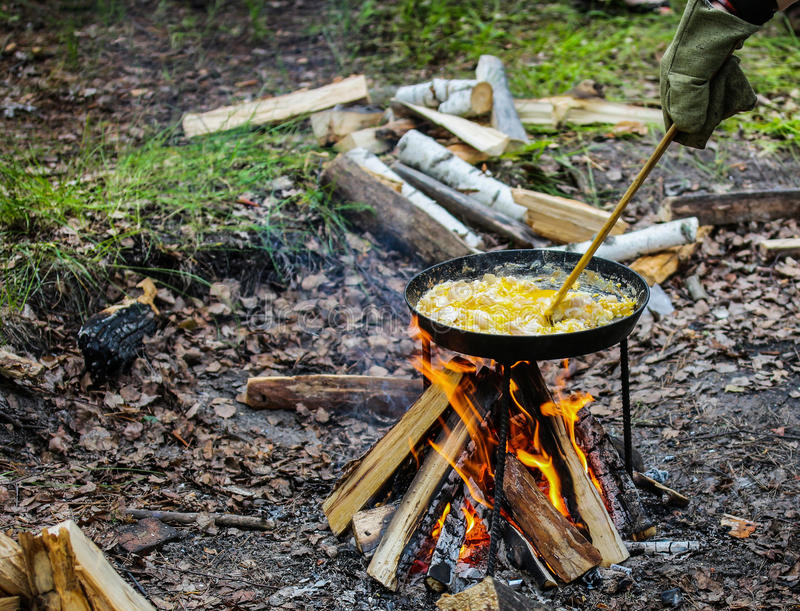 Scrambled eggs on fire royalty free stock images
