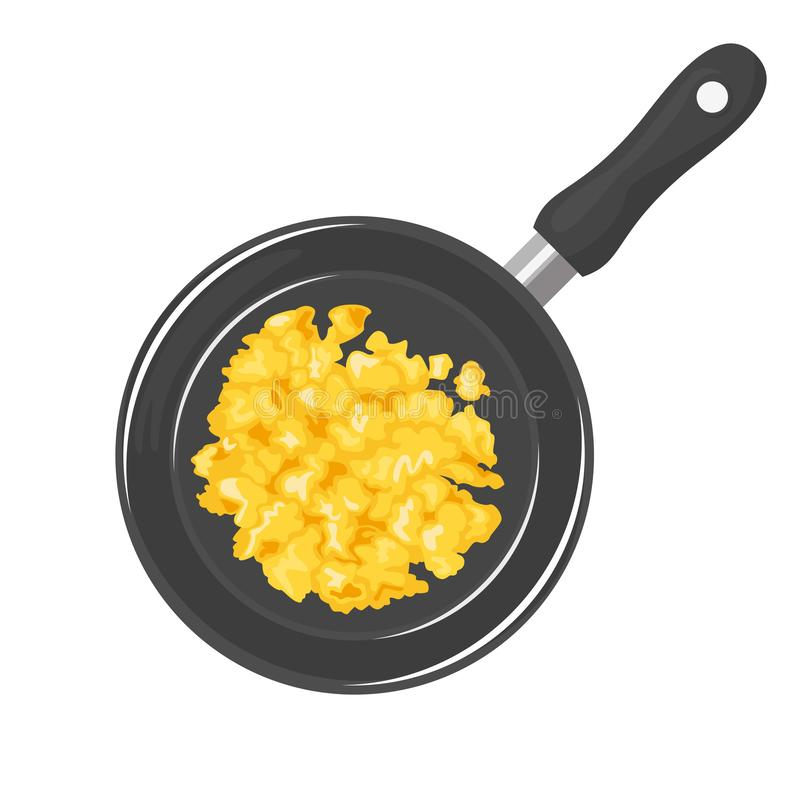 Scrambled eggs in frying pan isolated. Omelet in a skillet. vector illustration