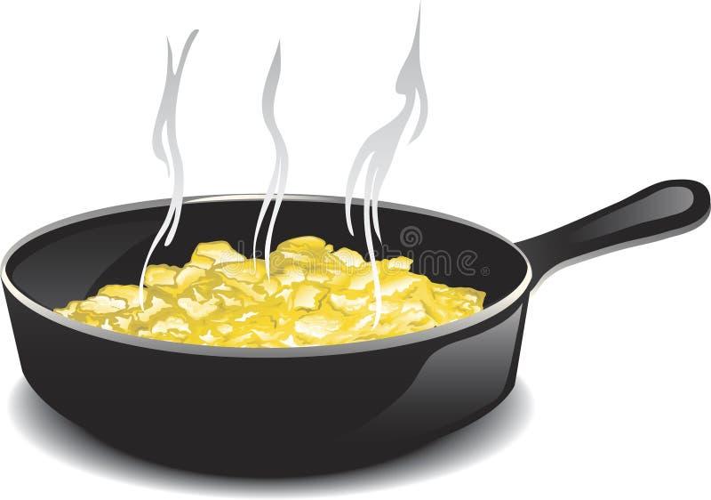 Scrambled eggs. Illustration of a hot frying pan of scrambled eggs royalty free illustration