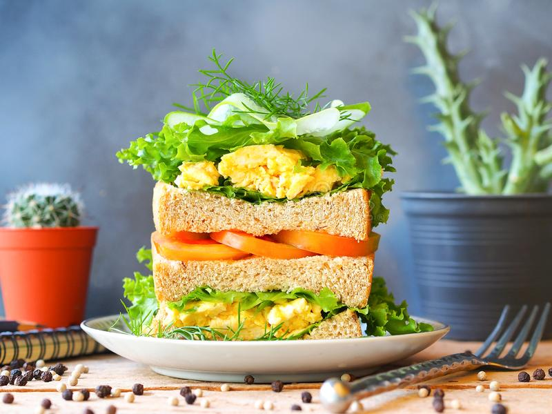 Scrambled eggs sandwich breakfast. With fresh tomato sliced, cucumber sliced and green lettuce in front view for healthy breakfast concept stock images
