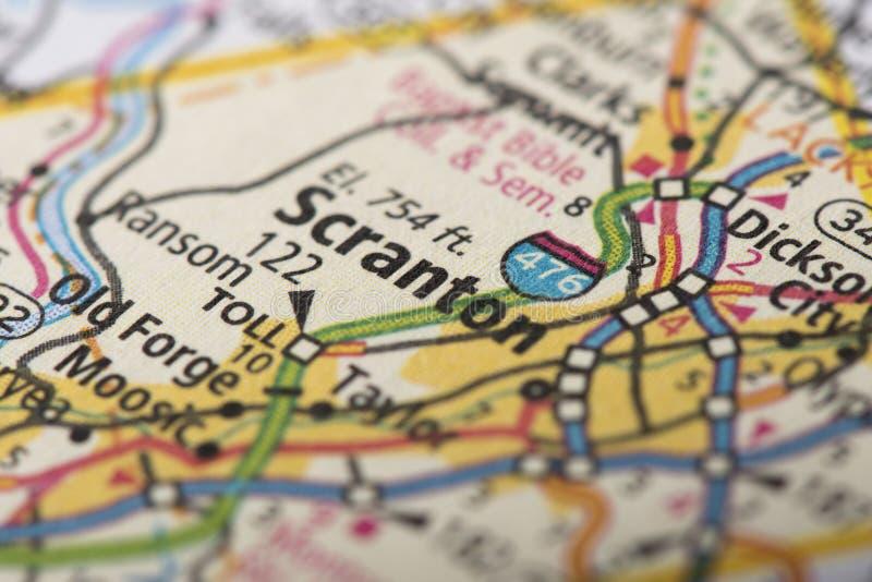 Scranton en mapa imágenes de archivo libres de regalías