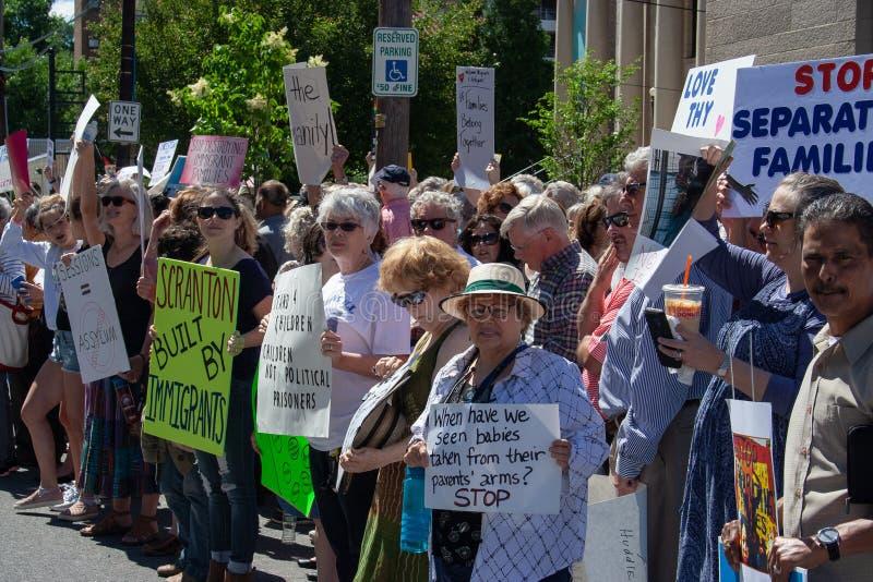 Scranton, PA, protestation contre Jeff Sessions de gare image stock
