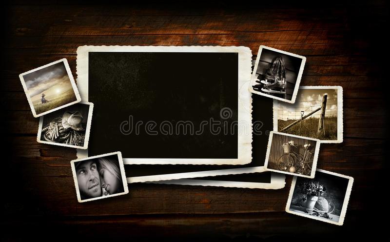 Scrap-booking background on dark wood. With photos royalty free stock images