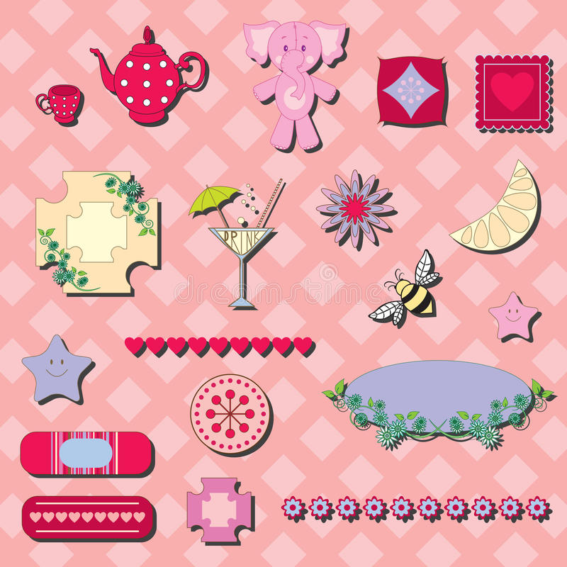 Scrap-booking elements. On checkered background vector illustration