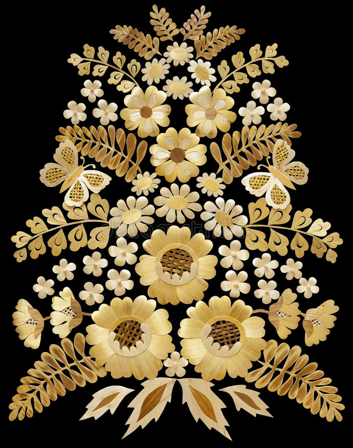 Scrap booking elements. Flowers of straw applique scrap booking elements stock photos