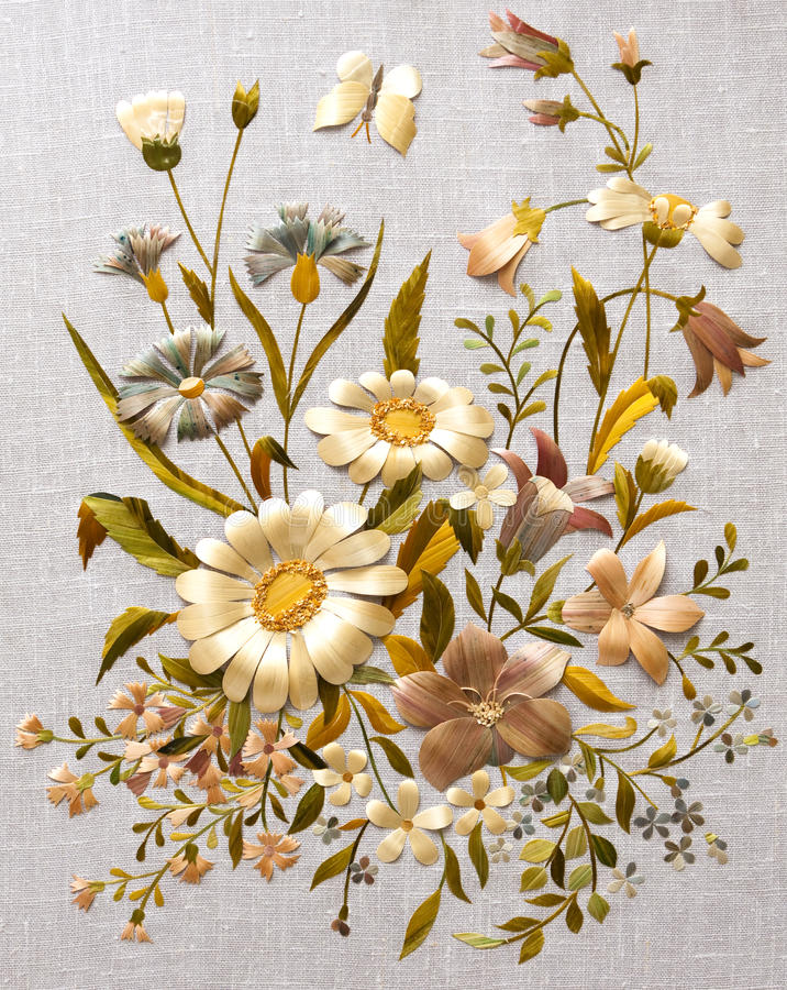 Scrap booking elements. Flowers of straw applique, scrap booking elements stock photography