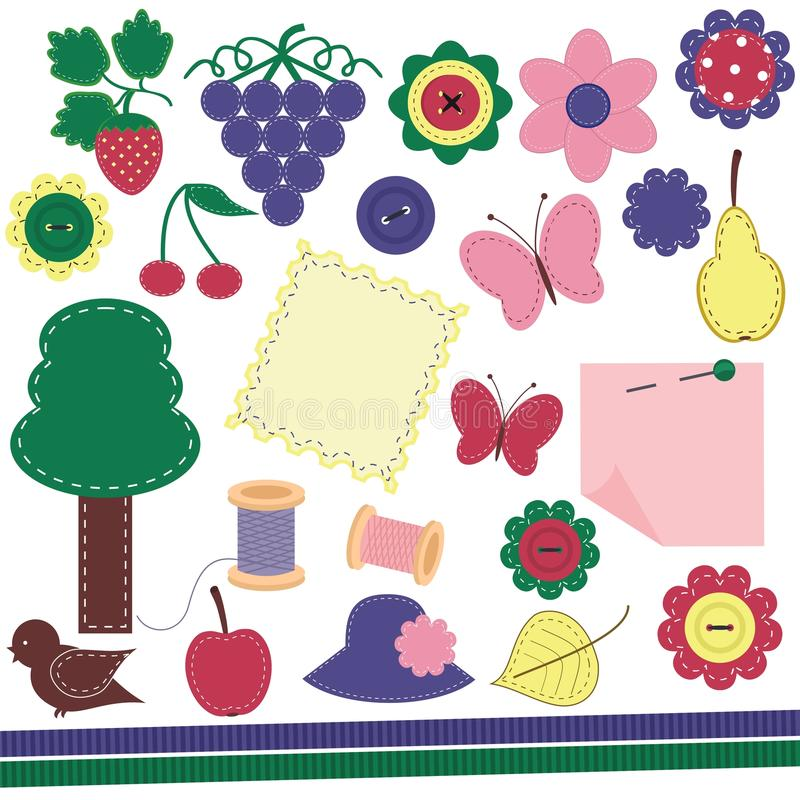 Scrap booking set with different objects vector illustration