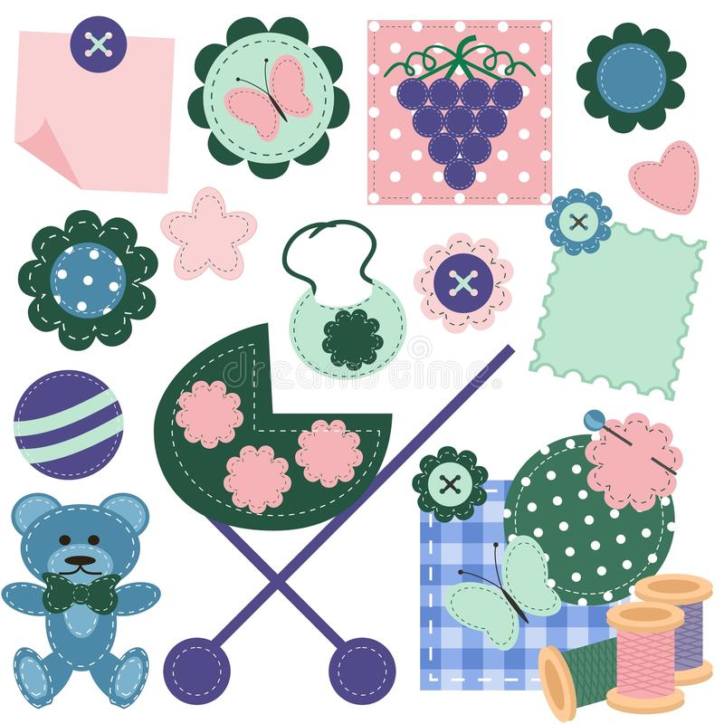 Scrap booking set with different objects stock illustration
