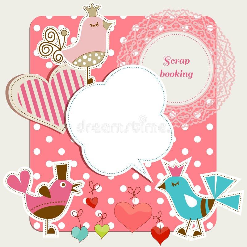 Scrap booking set. Funny birds, frames hearts, speech bubbles stock illustration