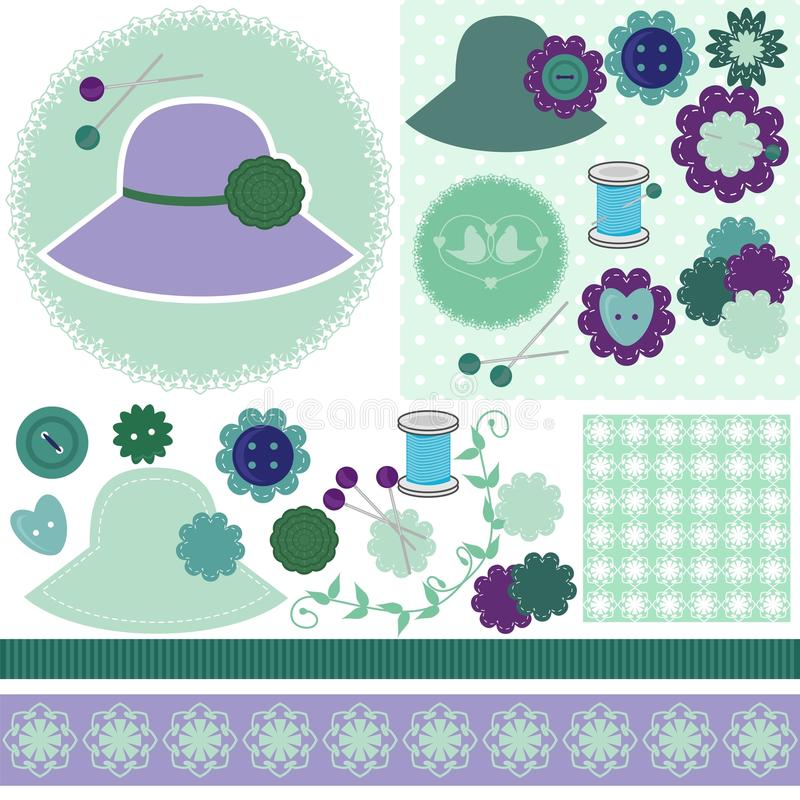 Scrap booking set of objects on white stock illustration
