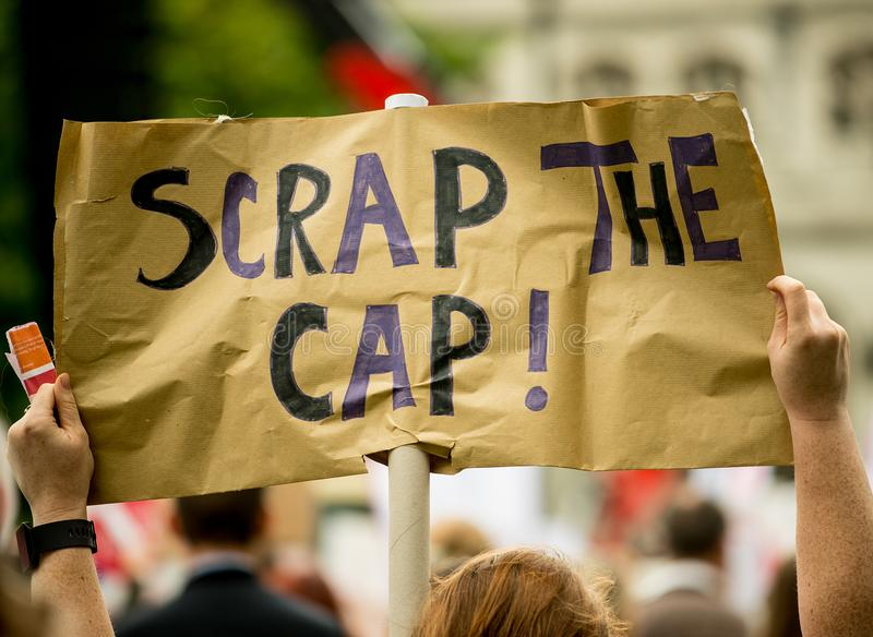 NHS - SCRAP THE CAP PROTEST. Scrap The Cap protest - Thousands of nurses gather at Parliament Square in London, UK, to campaign against the British government`s royalty free stock photos