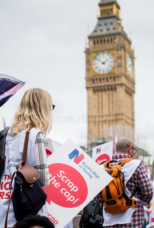 NHS - SCRAP THE CAP PROTEST royalty free stock photos