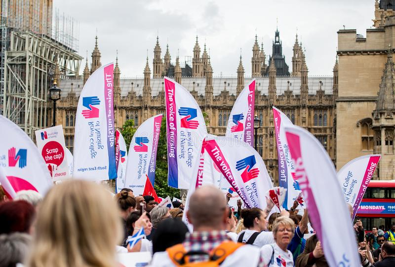 NHS - SCRAP THE CAP PROTEST royalty free stock images