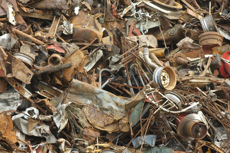Scrap Metal. Pile of scrap metal at recycling plant royalty free stock photos