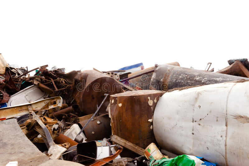 Scrap Metal. Huge pile of scrap metal with white background stock photography