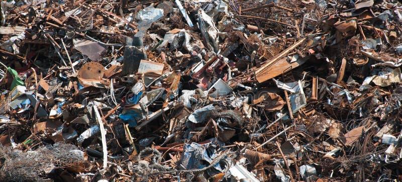 Scrap metal. Pile of scrap metal at recycling plant stock image