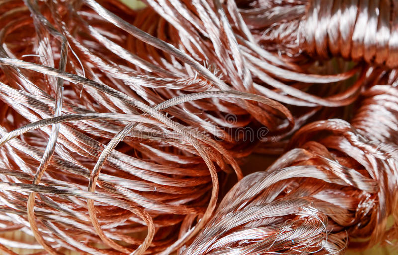 Scrap-metal. Big pile of scrap-metal copper wire close-up stock images