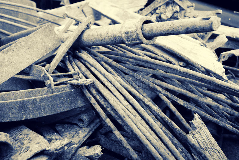 Scrap Metal. A close up of a pile of old corroding scrap metal. Toned in Sepia stock images