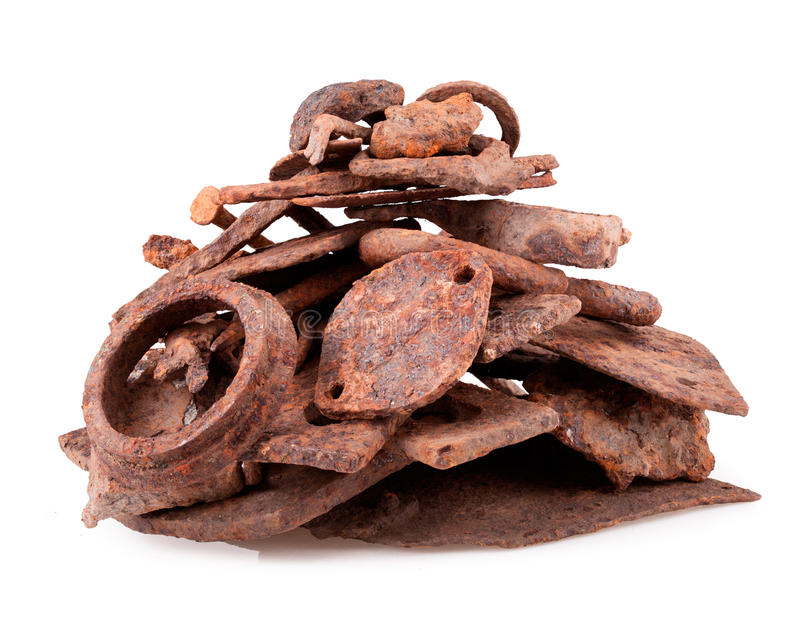 Scrap metal. Isolated on white background rusty iron scrap metal royalty free stock photo