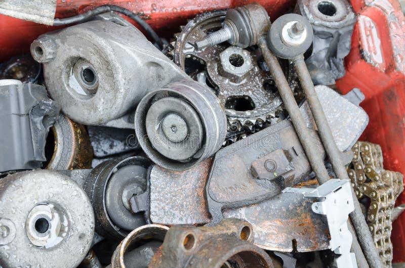 Scrap metal, old car parts. In a garage stock image