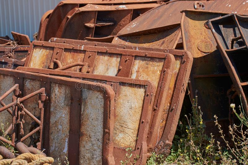 Scrap metal. Parts of boats lying around stock photography