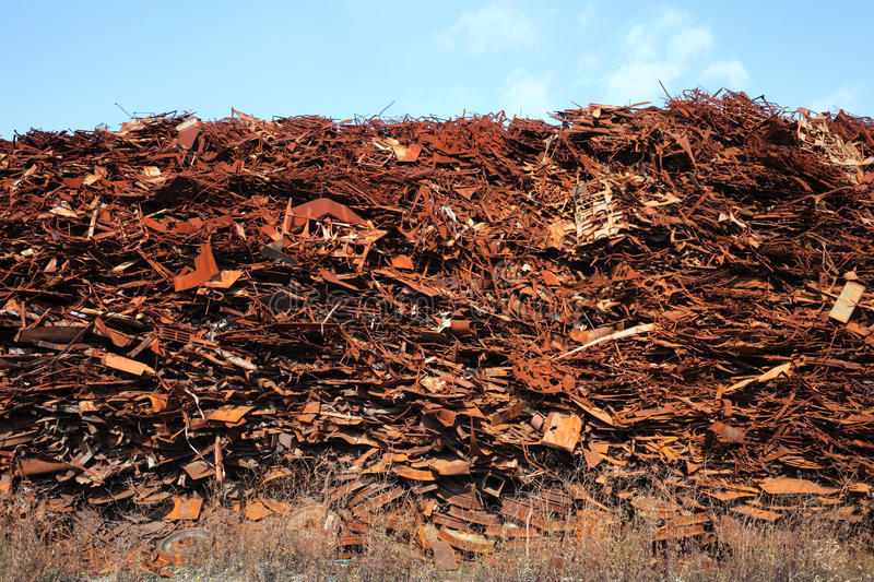 Scrap metal. Pile of scrap metal at a recycling facility royalty free stock photography