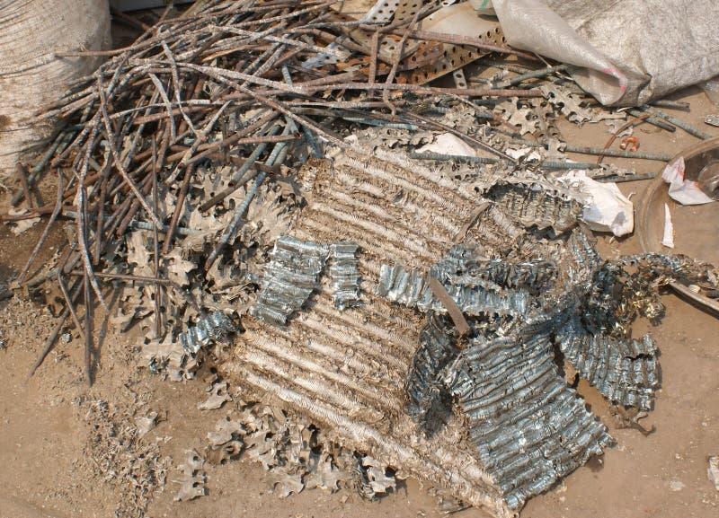 Scrap metal for recycling. Scrap metal for shredding and recycling at Dharavi, Mumbai, India royalty free stock photos