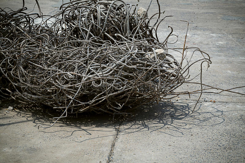 Scrap metal. Recycling of scrap metal from demolished building royalty free stock images