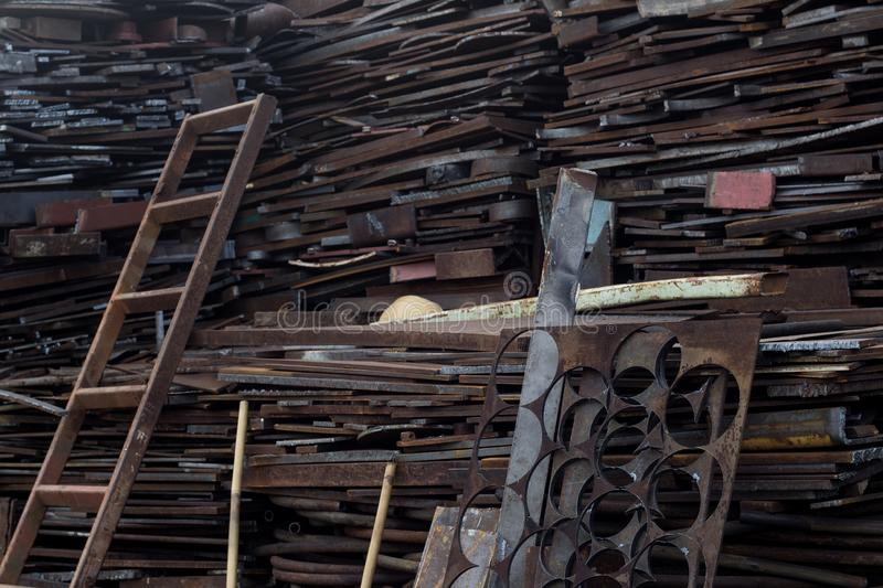 Scrap metal at recycling yard in pressure vessel industry. Manufacturing in Thailand stock photos