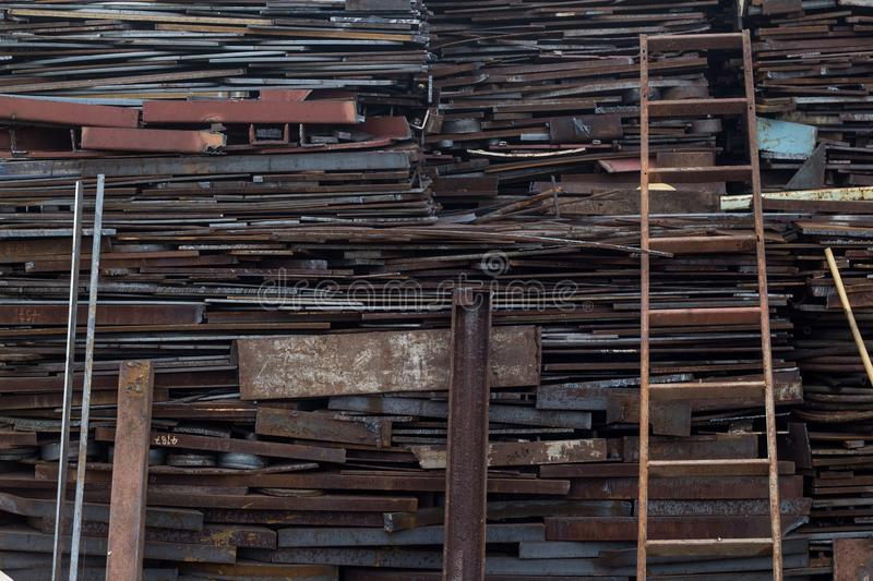 Scrap metal at recycling yard in pressure vessel industry. Manufacturing in Thailand stock images
