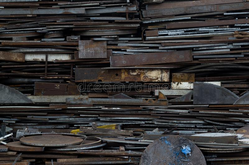 Scrap metal at recycling yard in pressure vessel industry. Manufacturing in Thailand stock photo