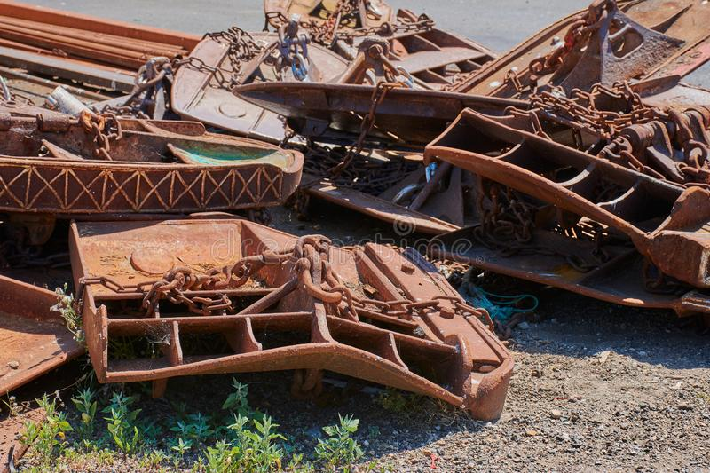 Scrap metal. Parts of boats lying around stock image