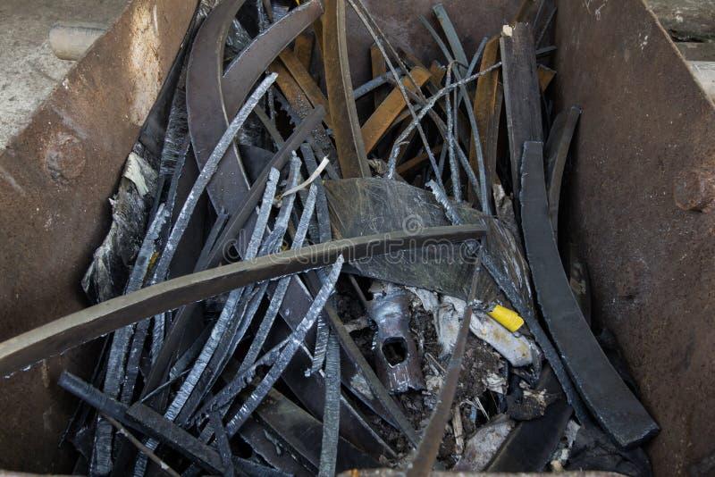 Scrap Steel of rusty metal scrap from construction. It is broken royalty free stock images