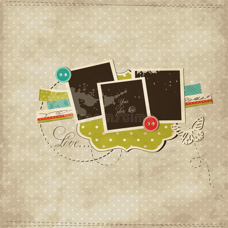 Scrap template with photo frames. Scrap template of vintage worn distressed design royalty free illustration