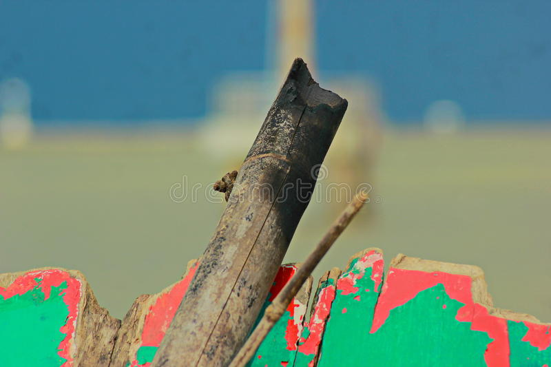Scrap wood. Old wooden debris. Decaying seaside area that is seen as trash. Do not need people to be left without attention may come from homes or from the royalty free stock photography
