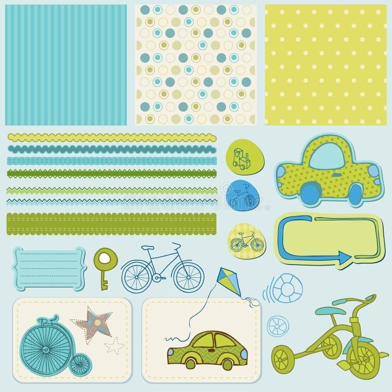 scrapbook элементов конструкции автомобиля bike иллюстрация штока