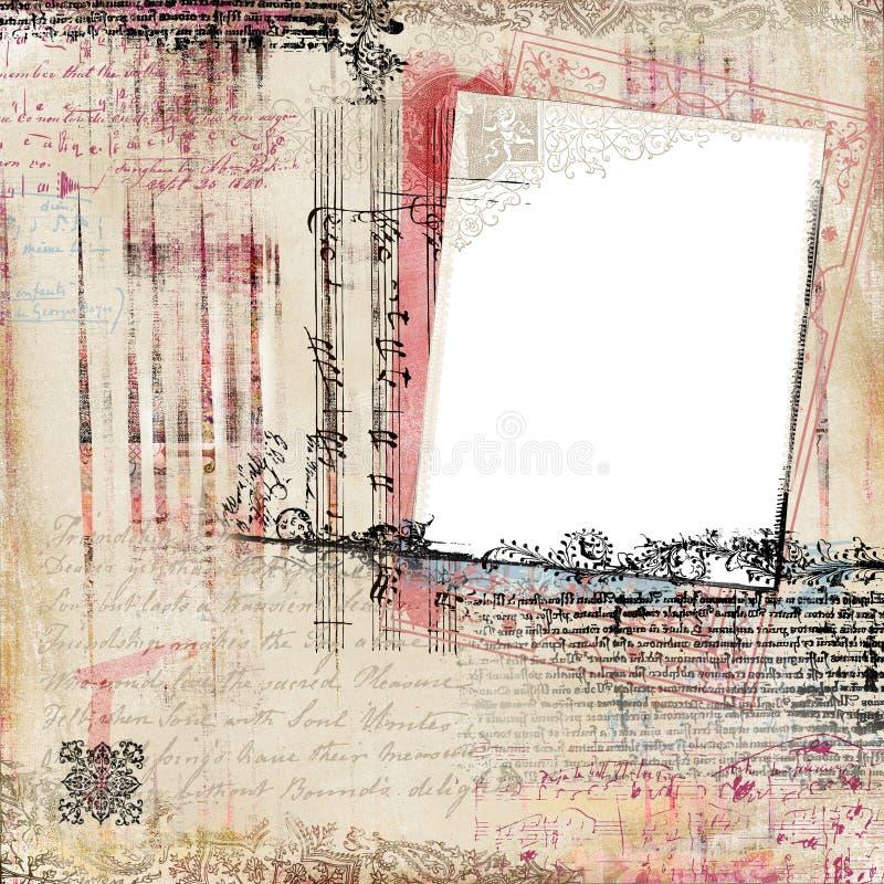 scrapbook adamaszkowy kwiecisty ramowy rocznik ilustracja wektor