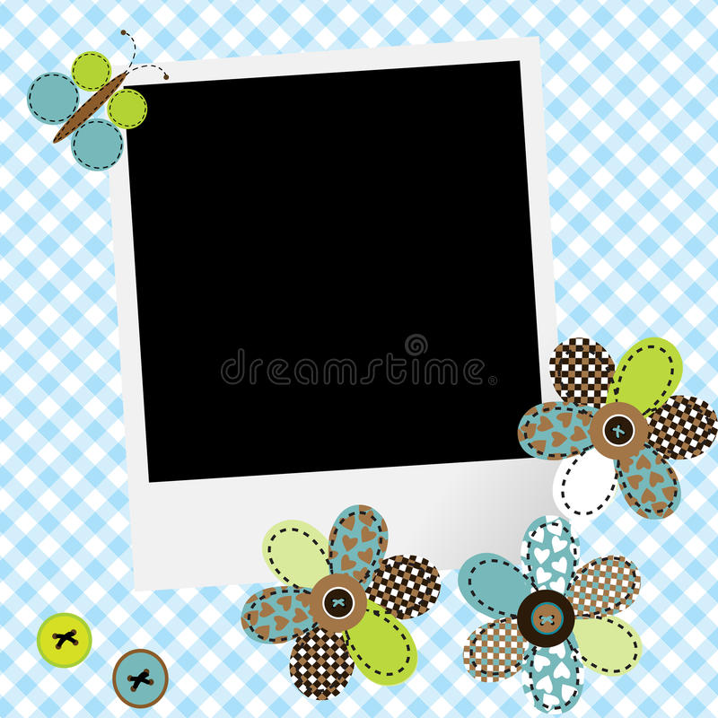 Scrapbook baby boy design with photo frame and patchwork flowers. And butterfly royalty free illustration