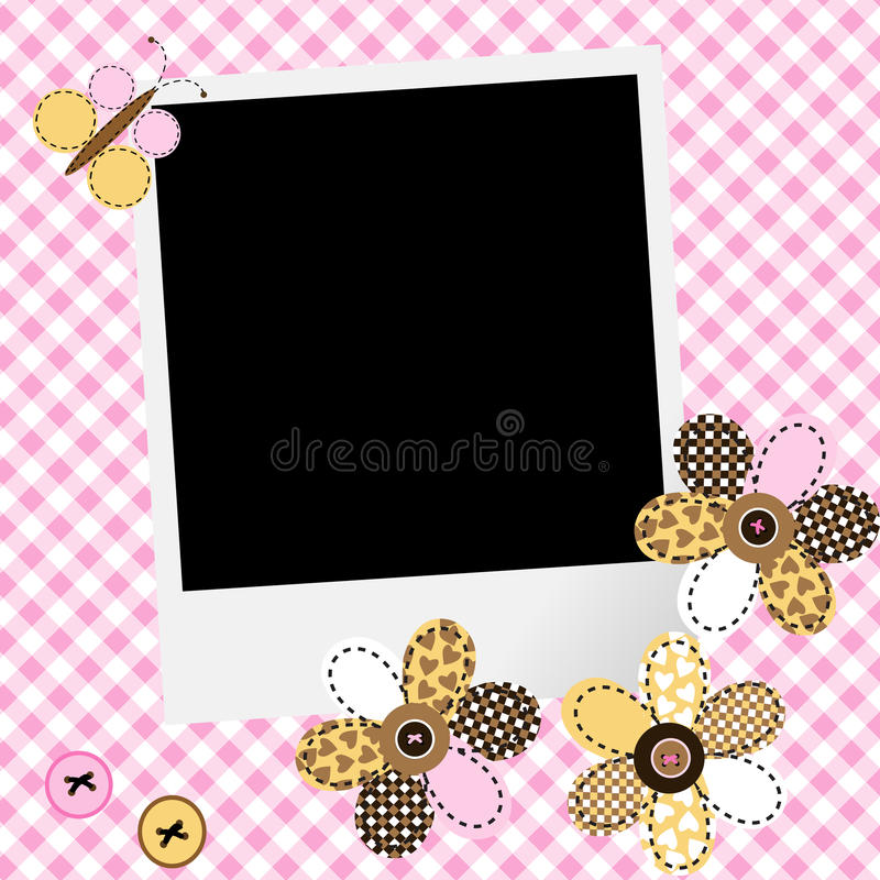 Scrapbook baby girl design with photo frame and patchwork flower. S and butterfly vector illustration