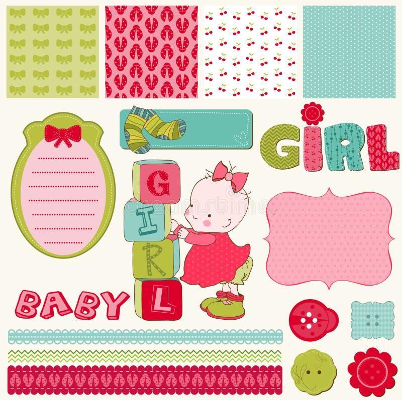 Scrapbook Baby Girl Set. Design elements royalty free illustration